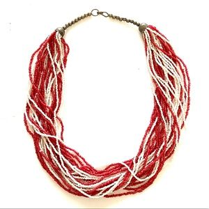 Red white Seed Bead Necklace Vintage